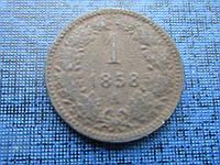 Монета 1 крейцер Австро-Венгрия 1858 А