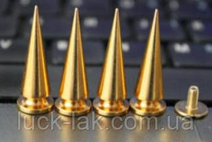 Шипи конус металеві гвинтові 26 x 10 мм, золото