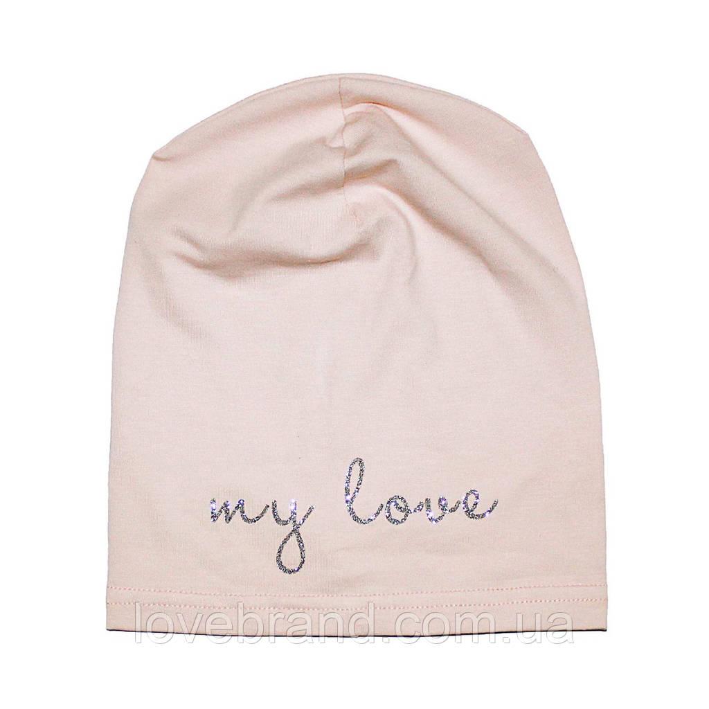 Дизайнерская однослойная шапочка Fashion Collection Andriana Kids для девочки розовая