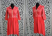 Дорогое женское платье верх из перфорированной эко-кожи, низ шифон 42, 44 размеры норма