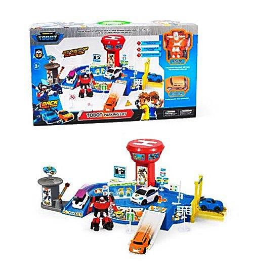 Детский игровой набор ПаркингTOBOT TB- 1870 -2 этажа, машинка 1шт, трансформер 1шт, дорожн.знаки, в коробке