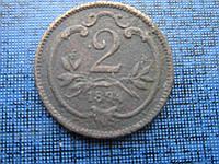 Монета 2 геллера Австро-Венгрия 1894