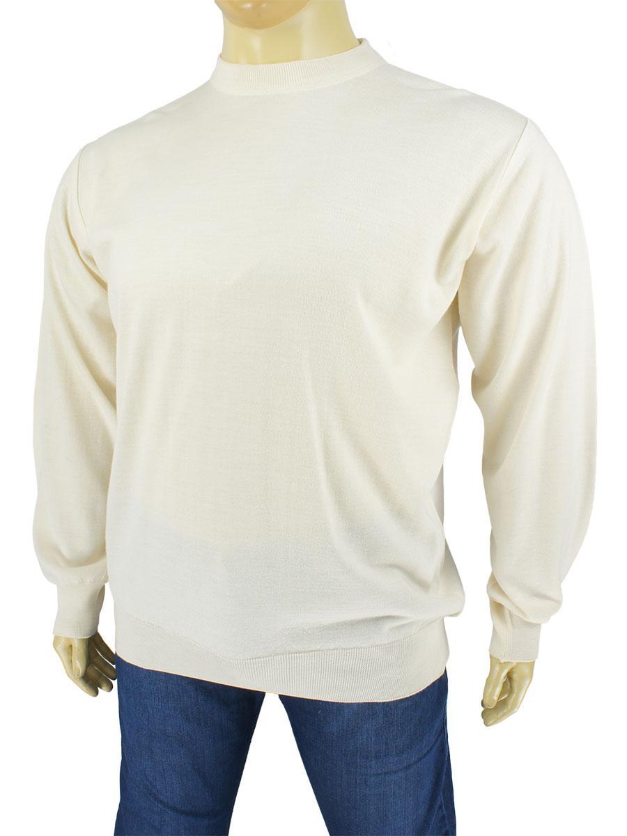 Чоловічий бежевий светр La Peron 0280 круг великого розміру