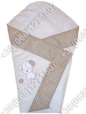 Летний конверт одеяло с вышивкой на выписку для новорожденного Песик бежевый, фото 2
