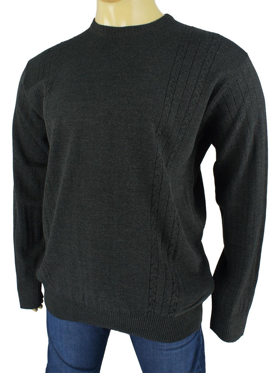 Чоловічий темно-сірий светр Dekons 1385 Antrasit великого розміру