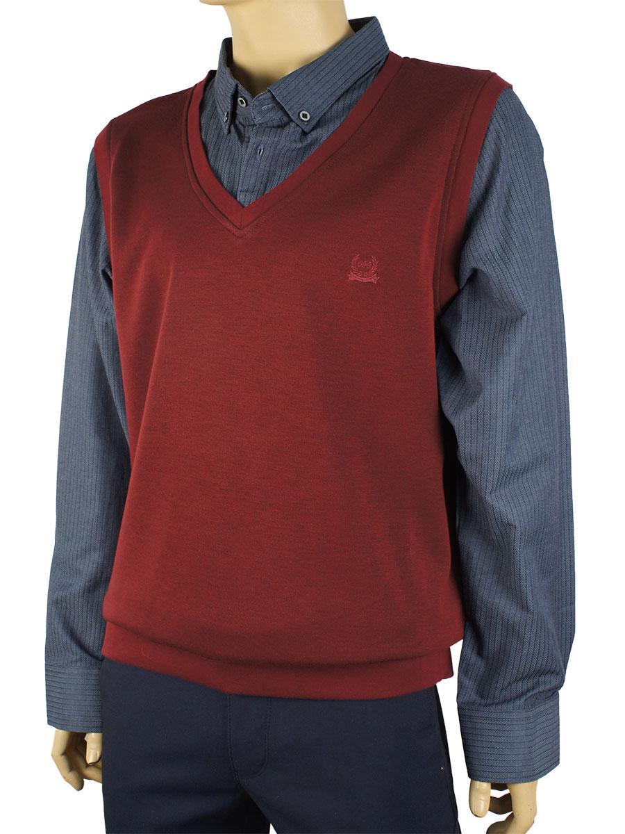 Чоловічий светр-обманка Off 22043 великого розміру