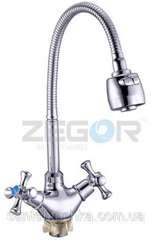 Смеситель для кухни Zegor DTZ4-E 827 на гайке с рефлекторным изливом