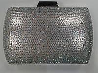 Женский клатч серебро в камнях каркасный красивый.(Турция)