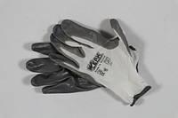 Перчатки трикотажнi полiестер, розмір 10, бiлий колiр, нiтрiлове покритітя (сiрі)  39380