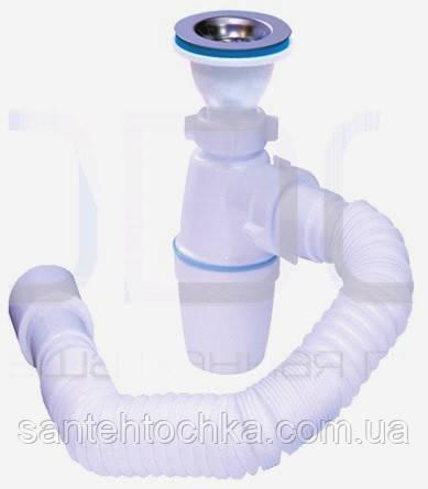 Сифон  для умывальника ″Waterstal″, 1*1/2  гибкая труба с выходом в канализацию 40/50