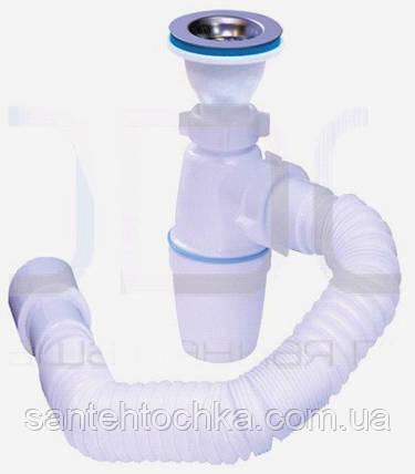 Сифон  для умывальника ″Waterstal″, 1*1/2  гибкая труба с выходом в канализацию 40/50, фото 2