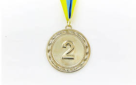 Медаль спорт d-6,5см C-4841-2 серебро ABILITY (38g, на ленте)