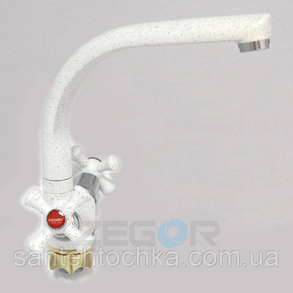 Смеситель для кухни Zegor DTZ4-D-W А827 на гайке, белый