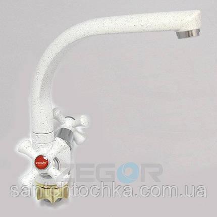 Смеситель для кухни Zegor DTZ4-D-W А827 на гайке, белый, фото 2