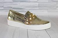 Золотистые слиперы с жемчугом. Натуральная кожа 1687, фото 1