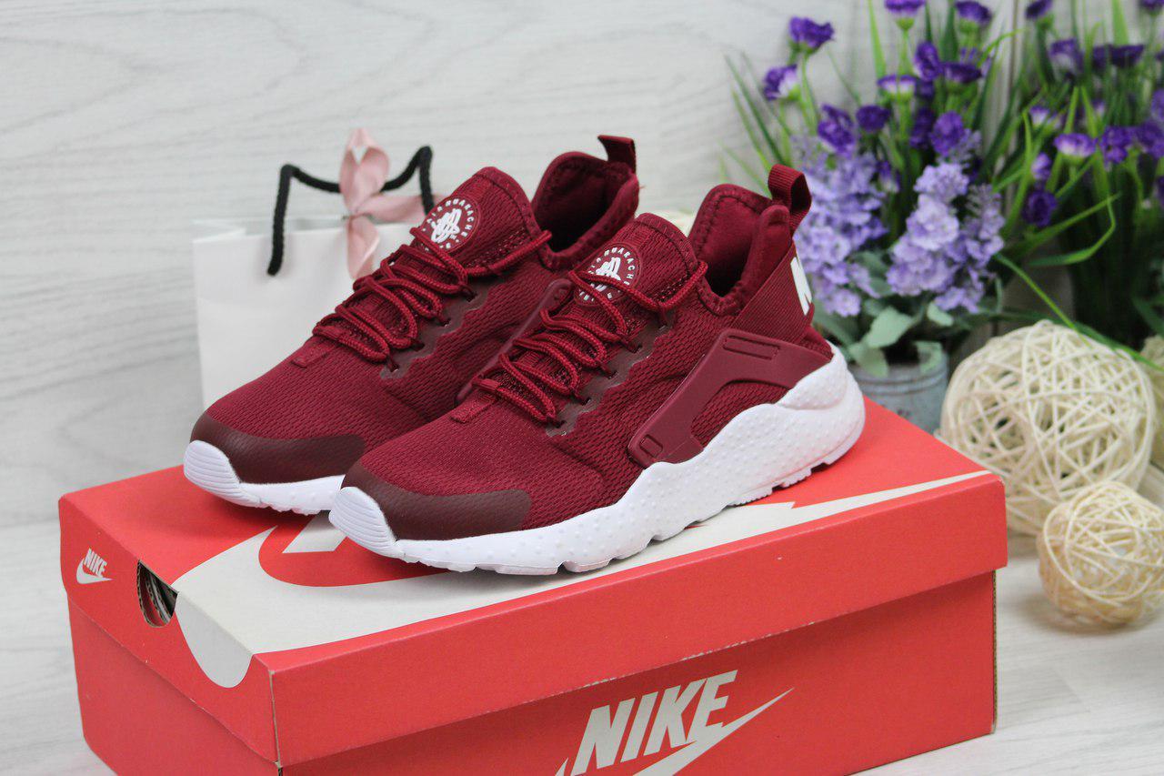 Женские кроссовки Nike Huarache (бордовые), ТОП-реплика