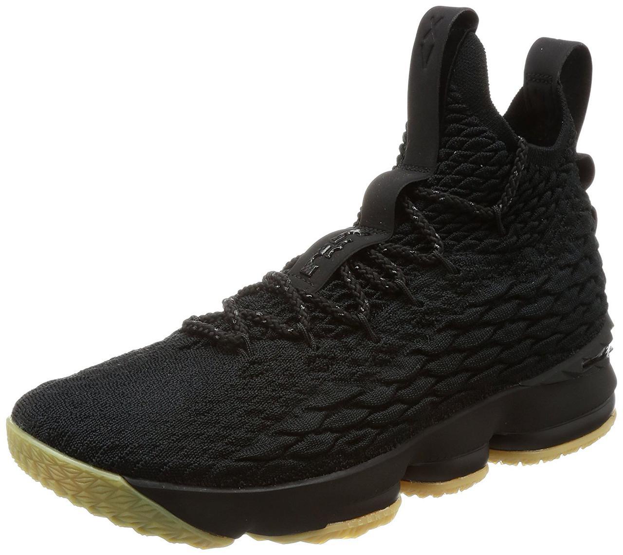 Чоловічі кросівки в стилі LeBron 15 (XV) Performance Review чорні на коричневою підошві