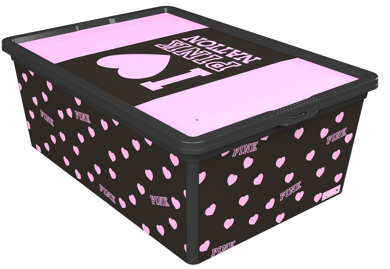 Ящик для хранения Trend Box Pink Nation Black, 10л