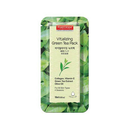 Осветляющая смываемая маска Purederm  Green Tea Yogurt Pack, 10 мл, фото 2