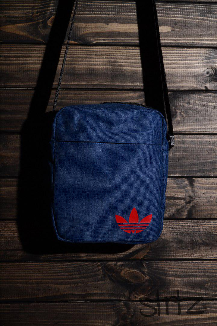 3775ec9e4ced Тканевая мужская сумка через плечо/мессенджер/барсетка адидас/Adidas, синяя