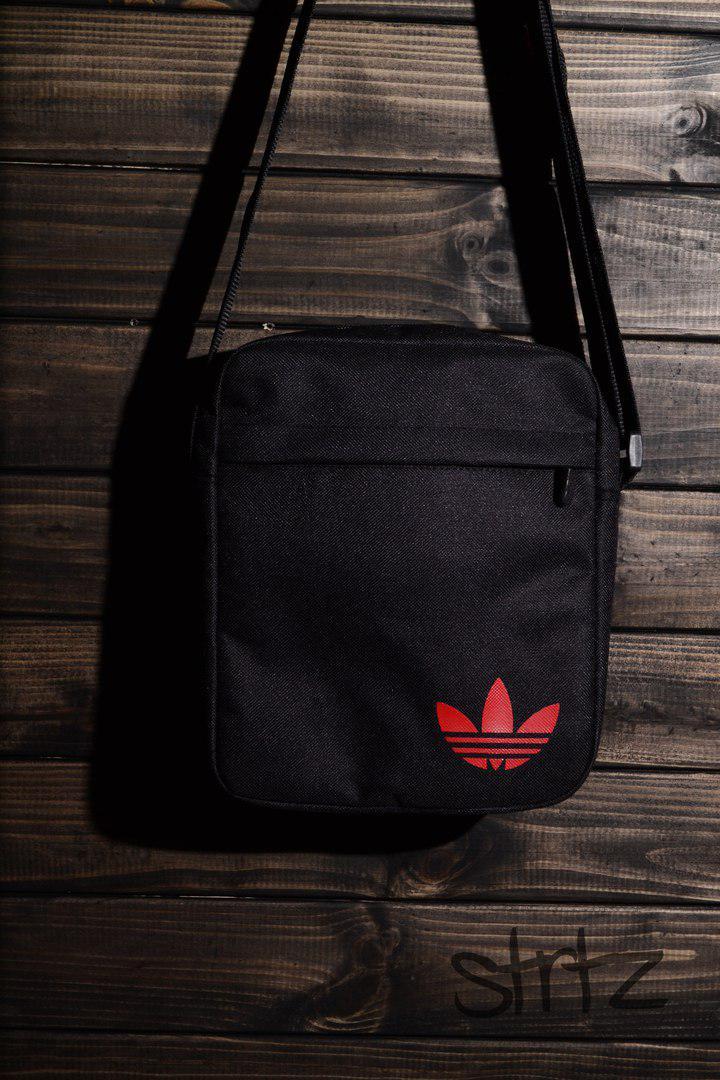 3c6876d4898a Тканевая мужская сумка через плечо/мессенджер/барсетка адидас/Adidas, черная