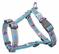 Trixie  TX-12246 шлея для собак Silver Reflect H-Harness  30-40 cm/10 mm