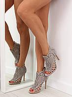 03-12 Серые женские ботинки с открытым носком M286 40,39,38,37,36