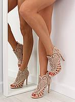 03-12 Бежевые женские ботинки с открытым носком M286 37,40,39,38,36