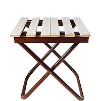 Мобильный дерявяннй раскладной табурет-стул без спинки