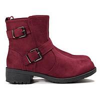 Бордовые женские ботинки с пряжками на молнии, фото 1