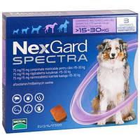 Таблетка от клещей, блох и глистов Нексгард Спектра (NexGard Spectra) для собак 15-30 кг (L), 3 табл. в уп.