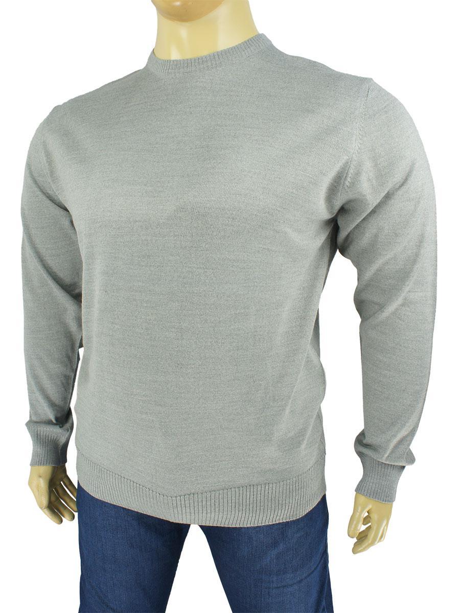 Мужской свитер большого размера Taddy 0280 круг светло-серого цвета