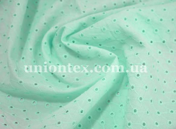 Батист с вышивкой мятный, фото 2