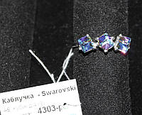 Каблучка срібло Кубик Сваровски кольцо с кристаллом Сваровски 4303-р AB