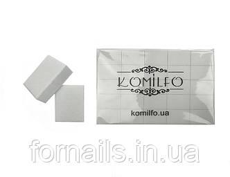 Шлифовщик для ногтей Komilfo Mini 32*25*12 мм белый 120/120 (50 шт. в пачке)