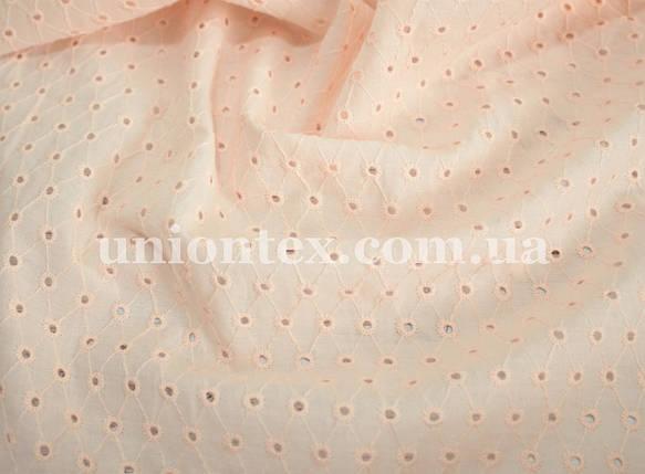 Батист с вышивкой персиковый, фото 2