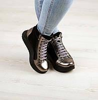 Ботинки демисезонные комбинированные на шнурке , фото 1