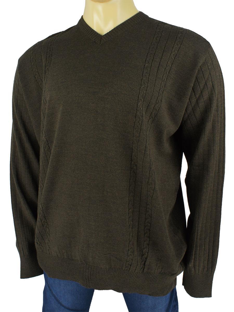Мужской коричневый свитер большого размера  Dekons 1392 B .