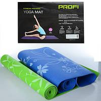 Коврик (каремат) для йоги и фитнеса Profi FitUp, цветочный принт, спортивный коврик, мат