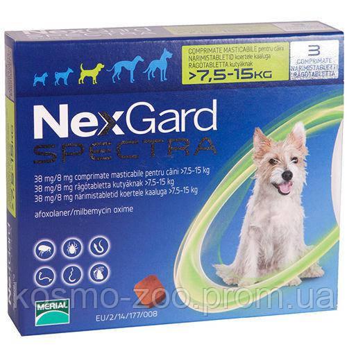 Таблетка от клещей, блох и глистов Нексгард Спектра (NexGard Spectra) для собак 7,5-15 кг (М), 3 табл. в уп.