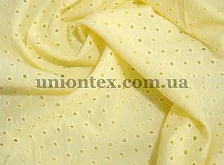 Батист с вышивкой желтый