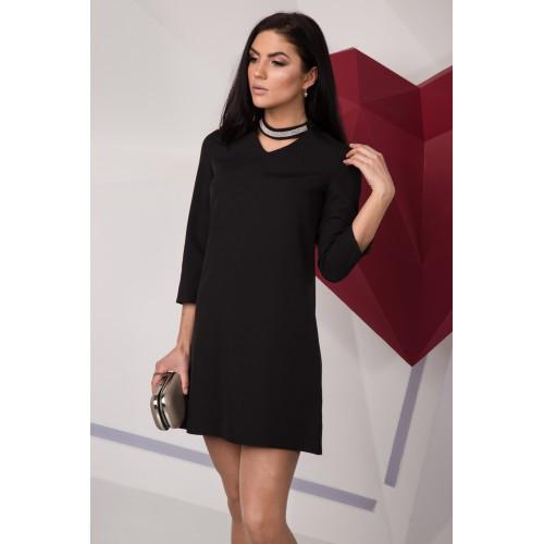 d278e710bfb4 Классическое черное платье-трапеция, с чокером - купить по лучшей ...