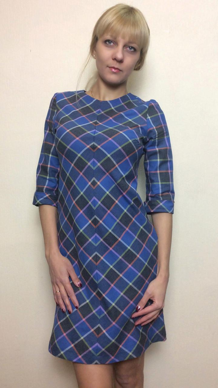 6236f9fdbc1 Женское офисное платье в клетку П224 - 2 Льва ® в Киеве