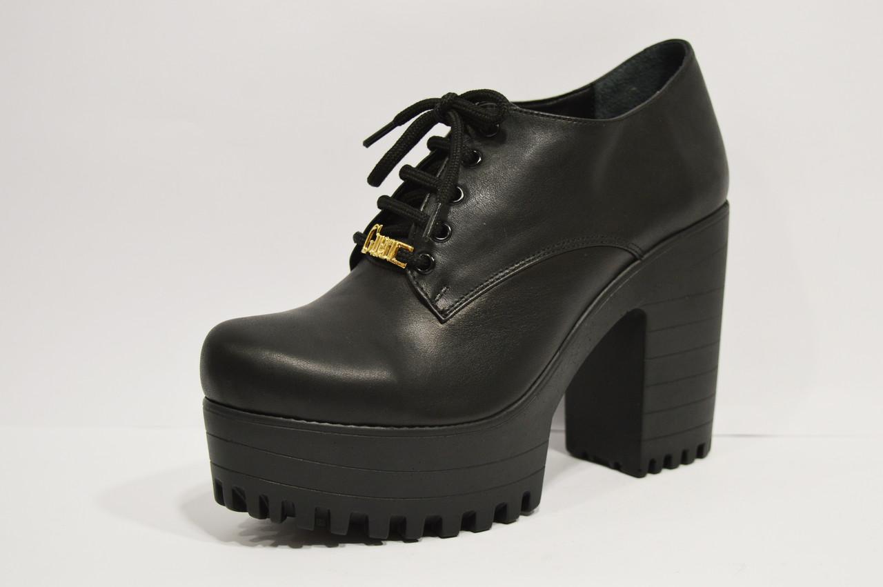 Ботинки кожаные на платформе с каблуком Guero 3009