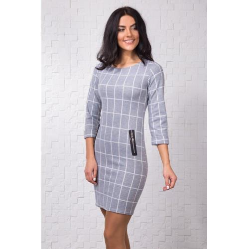38b81b8afac Молодежное приталенное платье светло-серого цвета