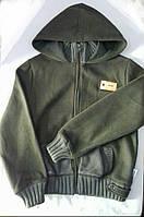 Куртка-толстовка для мальчика-подростка ростом 152 см цвета хаки