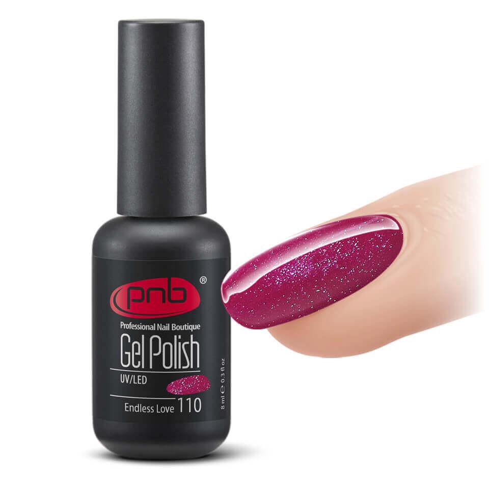 Гель-лак PNB 110 Endless Love  насыщенный красный, с фиолетовым микроблеском