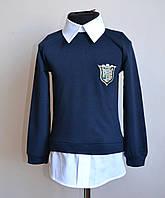 Кофта рубашка детская для девочек темно синяя, фото 1