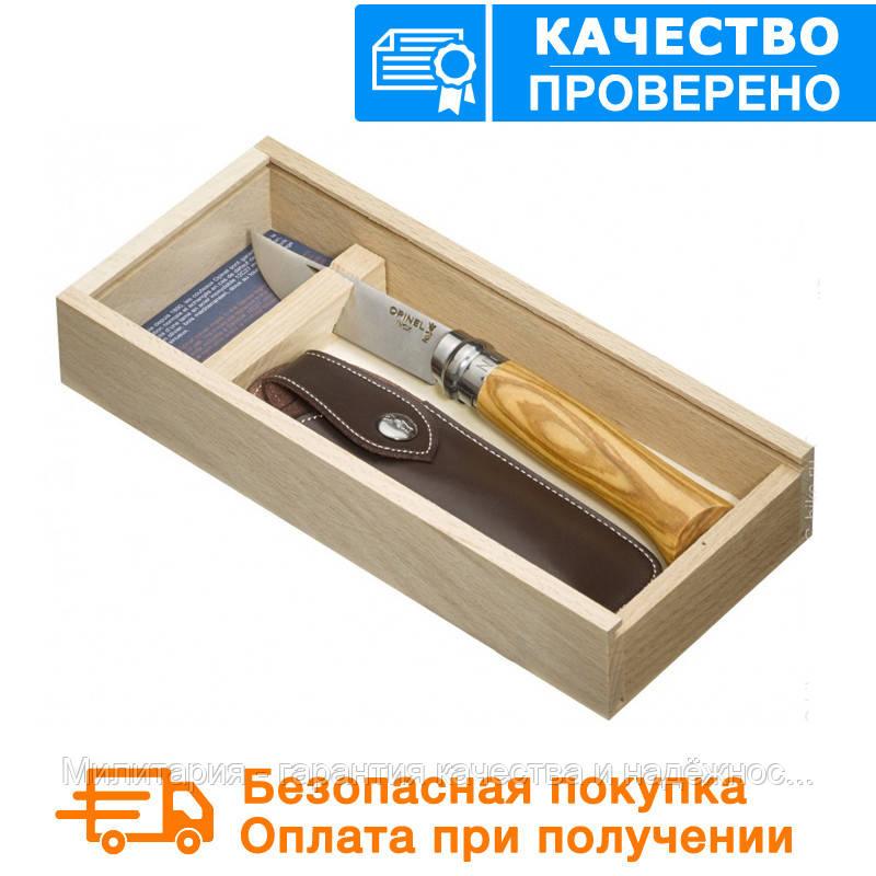 Складаний ніж Opinel (опинель) Inox Steel №8 VRN Olive з чохлом в пеналі (001004)
