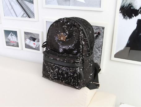 Рюкзак женский городской с черными пайетками